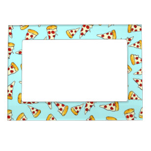 Funny pepperoni pizza pattern sketch on teal magnetic picture frame