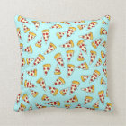 Funny pepperoni pizza pattern sketch on teal throw pillow