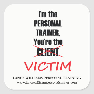Funny Personal Trainer Fitness Gym Business Square Sticker