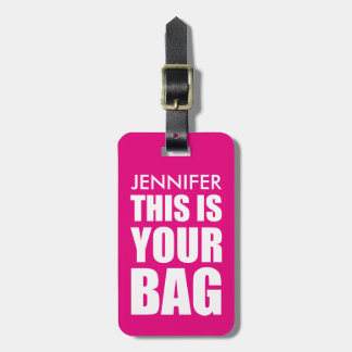 FUNNY PERSONALIZED BAG ATTENTION | FUNNY PINK BAG TAGS