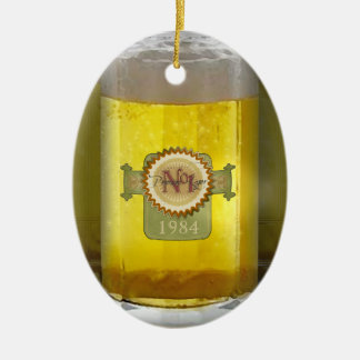 Funny Personalized Beer Glass Ceramic Ornament