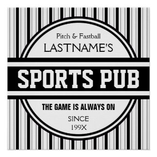 Funny Personalized Custom Bar Sign Sports Pub Poster