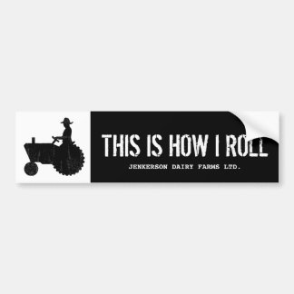 Funny Personalized Farm Tractor Farmer Sign Bumper Sticker