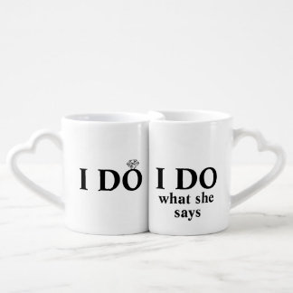 "Funny Personalized ""I Do"" Wedding or Anniversary Lovers Mug Set"