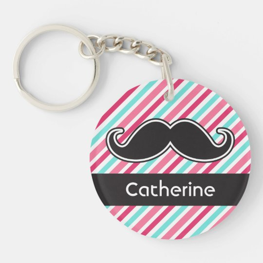 Funny personalized moustache pink aqua blue keychain