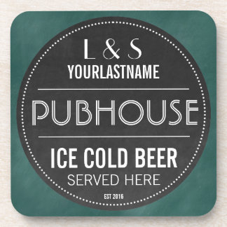 Funny Personalized Pubhouse Chalkboard Sign Beverage Coaster