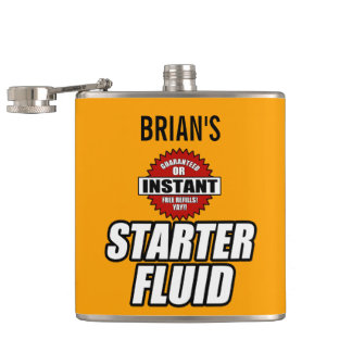 Funny Personalized Starter Fluid Hip Flask