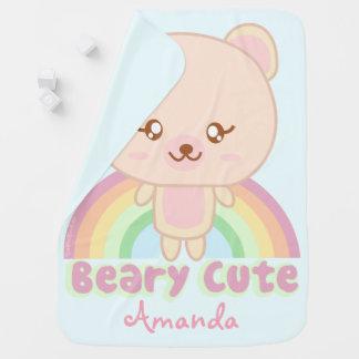 Funny personalized teddy bear pun stroller blankets