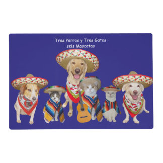 Funny Pet Spanish Placemat for Kids Laminated Place Mat