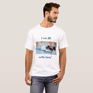 Funny Photo Black Goose Running Away on Water T-Shirt