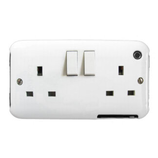 Funny Photo of UK Electrical Outlet On iPhone Case iPhone 3 Cases