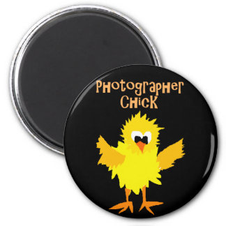 Funny Photographer Chick Cartoon Art 2 Inch Round Magnet