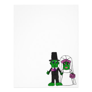 Funny Pickle Bride and Groom Wedding Art Letterhead Design