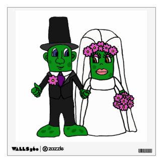 Funny Pickle Bride and Groom Wedding Cartoon Wall Sticker