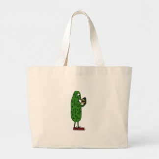 Funny Pickle Eating Hamburger Cartoon Canvas Bags