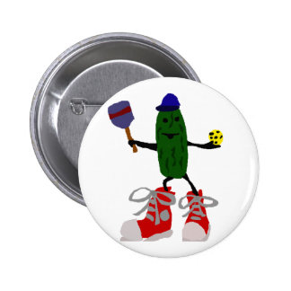 Funny Pickle Holding Pickleball and Paddle 2 Inch Round Button