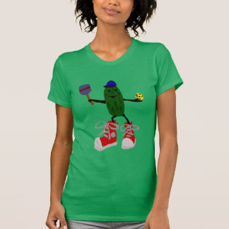 Funny Pickle Holding Pickleball and Paddle T-Shirt