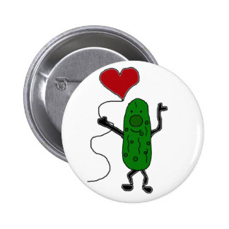 Funny Pickle is Holding Red Heart Balloon 2 Inch Round Button