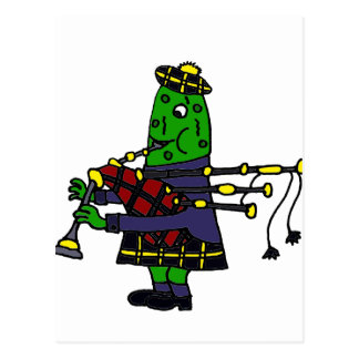 Funny Pickle Playing Bagpipes Original Postcard