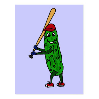 Funny Pickle Playing Baseball Cartoon Postcard