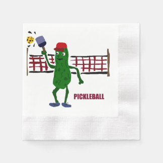 Funny Pickle Playing Pickleball Art Design Disposable Napkin