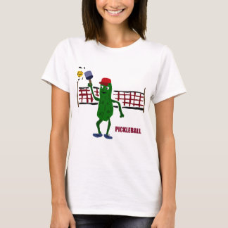 Funny Pickle Playing Pickleball with Net Art T-Shirt