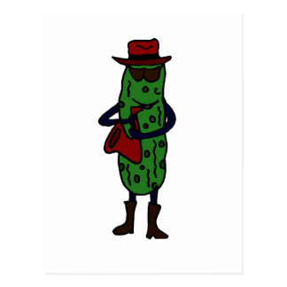 Funny Pickle Playing Saxophone Postcard