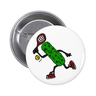 Funny Pickle Playing Tennis Art 2 Inch Round Button