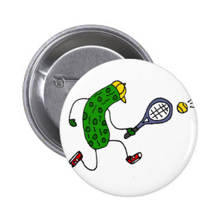 Funny Pickle Playing Tennis Cartoon 2 Inch Round Button