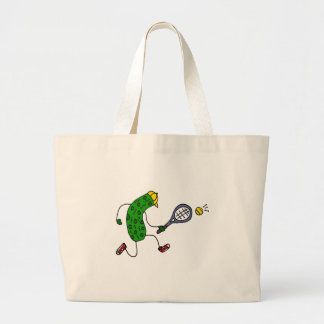Funny Pickle Playing Tennis Cartoon Large Tote Bag