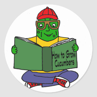 Funny Pickle Reading How to Grow Cucumbers Round Sticker