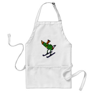 Funny Pickle Skiing Cartoon Standard Apron