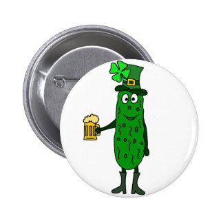Funny Pickle St. Patrick's Day Art 2 Inch Round Button