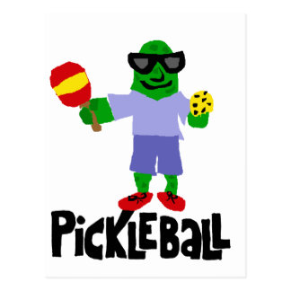 Funny Pickle with Pickleball Paddle Postcard