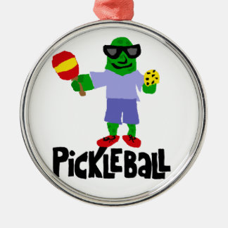 Funny Pickle with Pickleball Paddle Silver-Colored Round Ornament