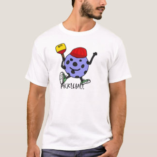 Funny Pickleball Ball Character Cartoon T-Shirt