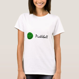 Funny Pickleball Green Smiley Face T-Shirt