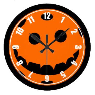 Funny Pickleball Jack o Lantern Pumpkin Large Clock