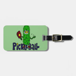 Funny Pickleball Monster Cartoon Luggage Tag