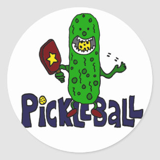 Funny Pickleball Monster Cartoon Round Sticker