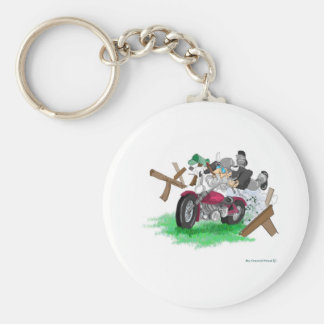 Funny picture of man on motorcycle crashing keychain