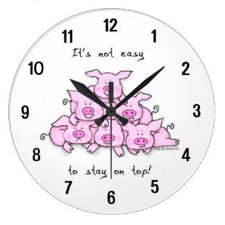 Funny Pig Cartoon Wall Clock