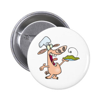funny pig chef with pig slop dish cartoon 2 inch round button
