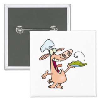 funny pig chef with pig slop dish cartoon 2 inch square button