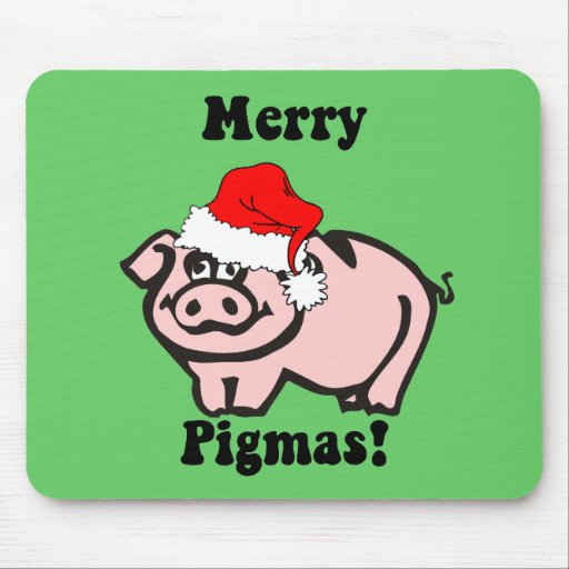 Funny pig Christmas Mouse Pad