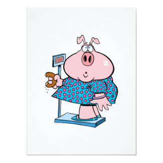 funny pig on a diet eating a donut on a scale personalized announcement