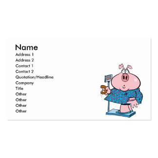 funny pig on a diet eating a donut on a scale pack of standard business cards
