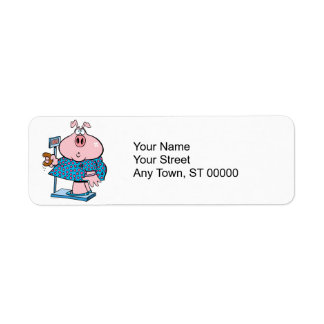 funny pig on a diet eating a donut on a scale return address label