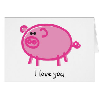 Funny Pig on White Greeting Card