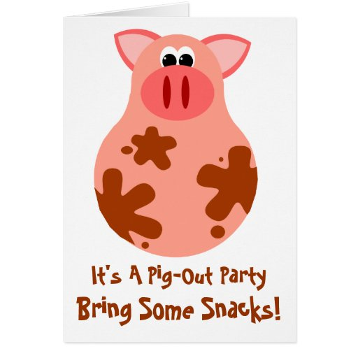 Funny Pig Out Friends Party Invitation Card